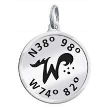 Sterling Silver Custom Designed NEW Wildwood Enameled Latitude and Longitude Charm - Lat and Lon Dangle
