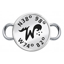 Sterling Silver Custom Designed NEW Wildwood Enameled Latitude and Longitude Center Custom Clasp Topper - Lat and Lon Center
