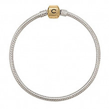 Sterling Silver with Gold Snap Chamilia Charm Bracelet