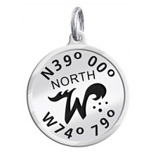 Sterling Silver Custom Designed NEW North Wildwood Enameled Latitude and Longitude Dangle Charm - Lat and Lon North Dangle