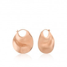 Ania Haie Texture Mix ,Rose Gold ToneWhite,Rose Hoop Earrings